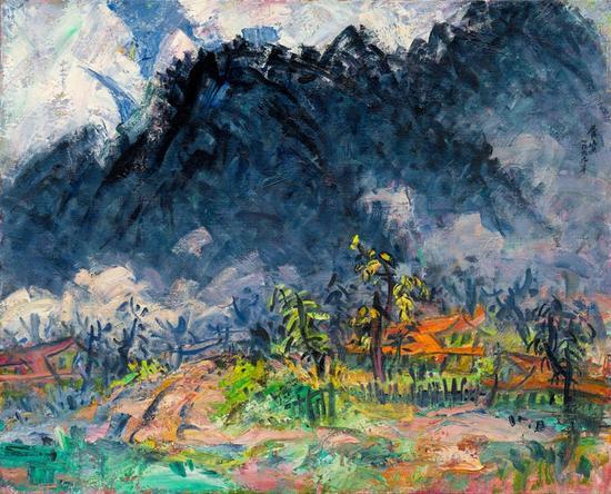 山居辑系列;谷雨、1999年、麻布油画、80.3X100.8第九届全国美术作品展1999-2
