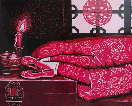 《新妆系列》 90cm×70cm (版画) 释义:红色是最好的表达,一如我静静燃烧的爱恋