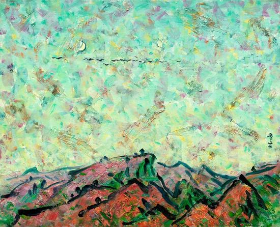 山居辑系列;向何方 2016年、麻布油画、80X65cm 2016年当代精神-李秀实与墨骨油画作品展(北京)