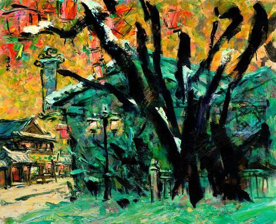正月雪 系列;街头巷尾、2016年、麻布油画、80X65 2015年李秀实与墨骨油画台湾巡展