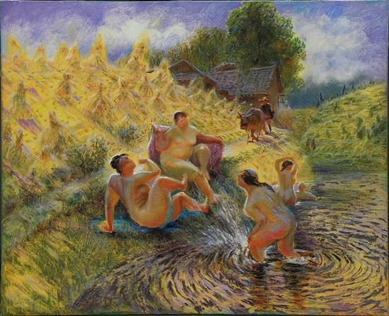 7 120x100cm 重读美术史,雷诺阿戏水的浴女- 布面油画_