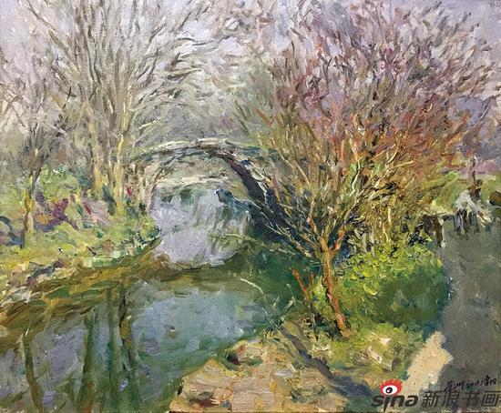 李荣洲《老桥》油画