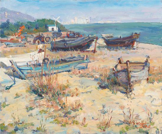他的风景绘画上有着自己的一套成型的经验,他的风景画潇洒自如,笔笔