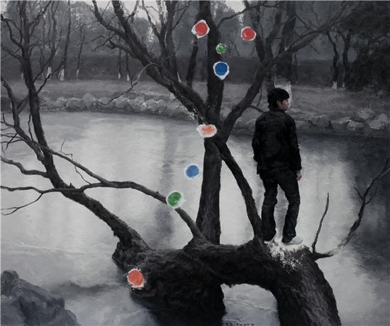 李胤 雪人的纽扣180cmX150cm 布面油画 2014年