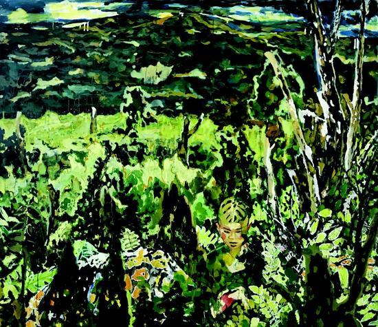 孟小为 藏不住人的绿(布面油画)(2017)160x160cm