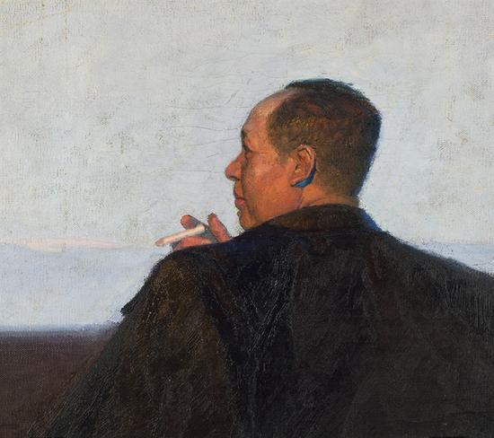 表现毛主席在黑龙江的作品《时代的春天》残留的局部