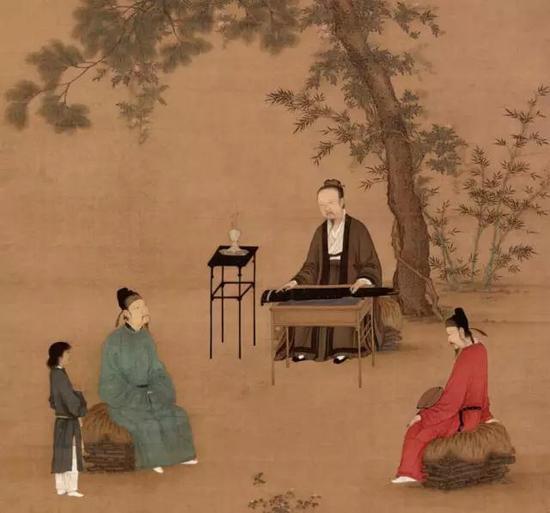 宋徽宗赵佶的自画像,两位听琴的官员中,穿红袍低头聆听的正是蔡京。