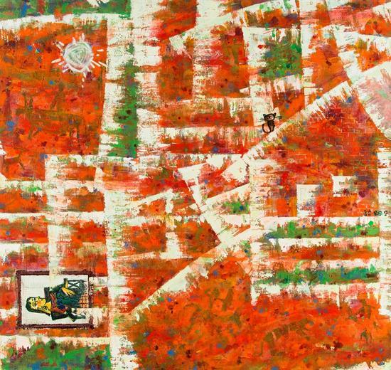 金石梦语之一、1986年、麻布油画、121x132cm 1987年中国当代油画展(美国)