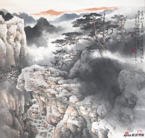 展出的山水画(乐震文)
