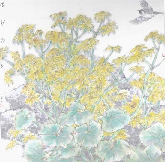 金秋菊韵 68×68cm