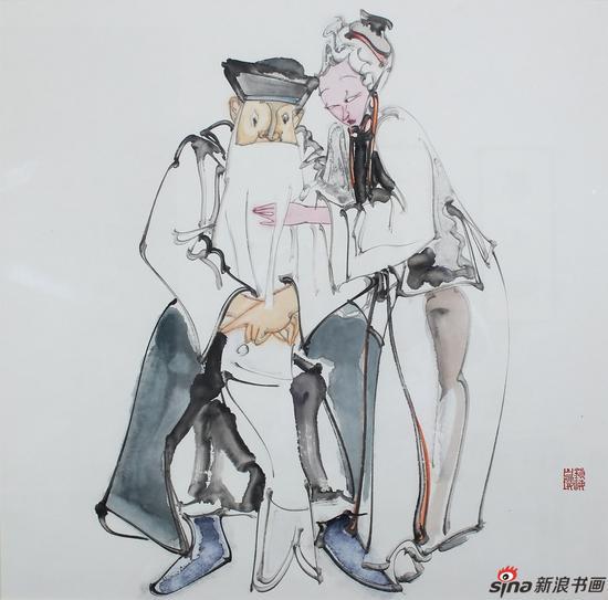 《女起解》70x70cm 纸本设色 2015年