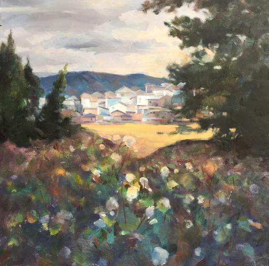 孙晓红《故园》60x60cm2017年布面油画。webp