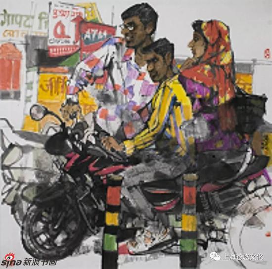 《走马看印度系列》 纸本水墨 69x68cm
