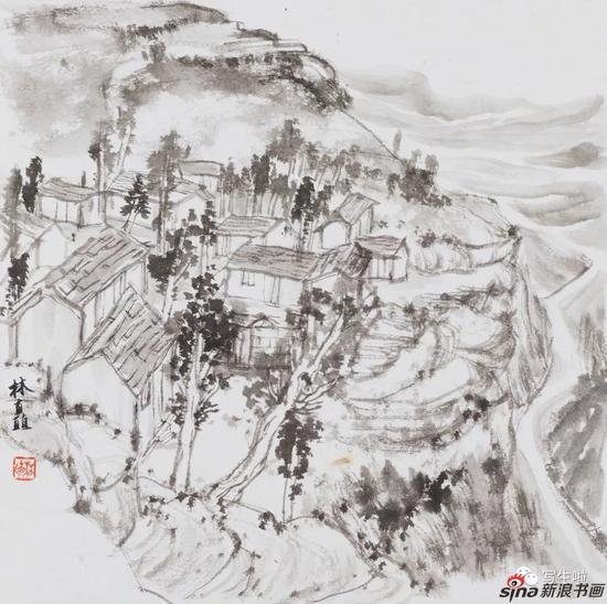 《太行,朝阳沟之四》 33x33cm 2017年4月