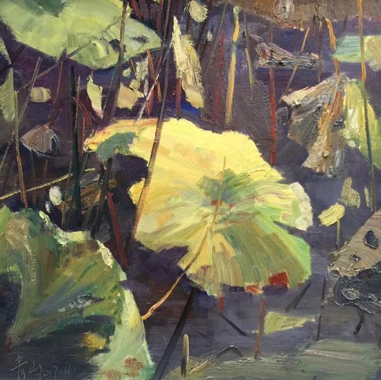 牛青山《荷塘秋色》60x60cm2017年布面油画。webp