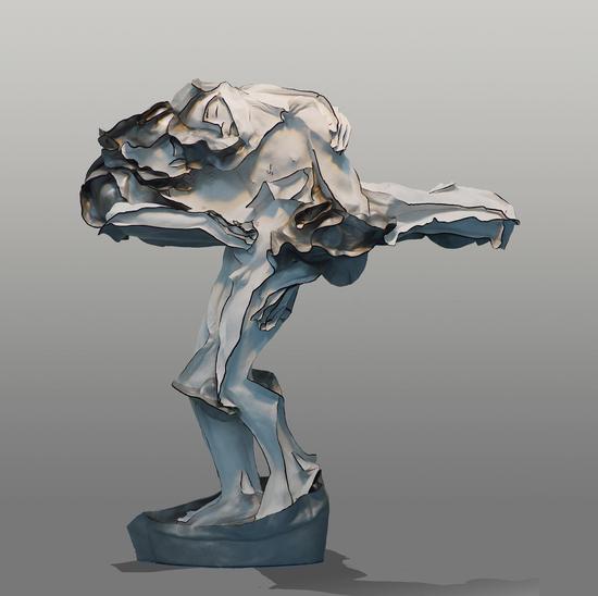 王立伟《或说无我或说空》之四121x115x45CM  牛皮、树脂  2013年