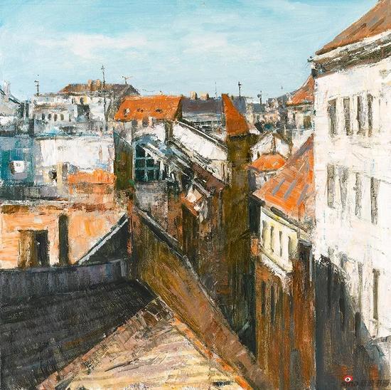布达佩斯街景 80cmx80cm 布面油画 2016年