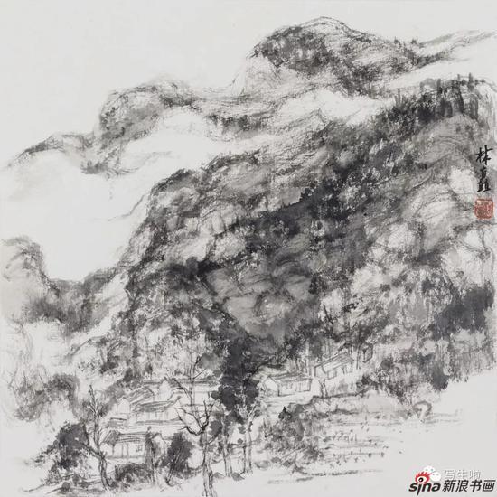 《太行,雨后的林虑山之一》 33x33cm 2017年4月