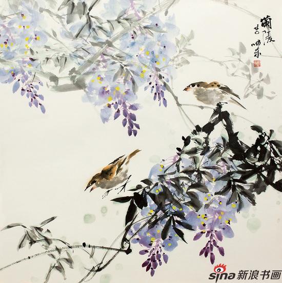 李嘯东《紫藤双鸟》
