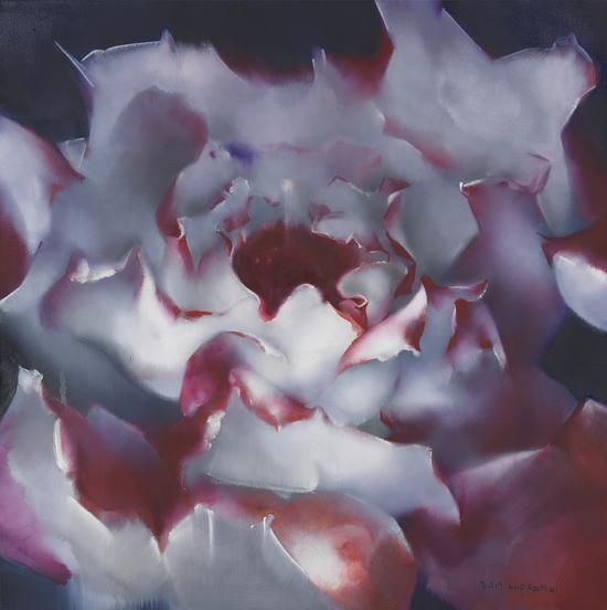罗发辉/ Luo Fahui|<夜下的玫瑰花/Rose under the night>|120x120cm|布面油画/Oil on Canvas|2017