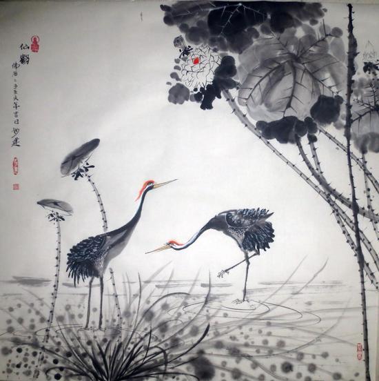 黄建南 禅艺国画 仙鹤 69x69cm.IMG_2850