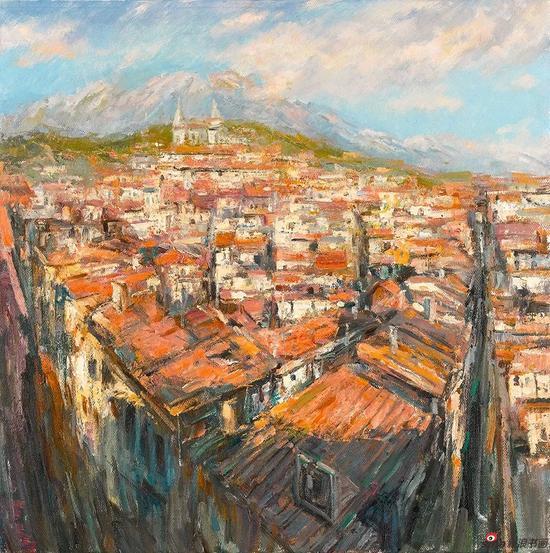 西班牙小镇 80cmx80cm 布面油画 2015年