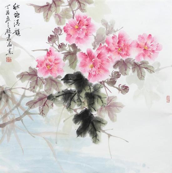 秋塘清韵 68×68cm