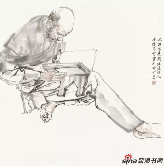 高云 加德满都路边读书人 国画 68cm×68cm