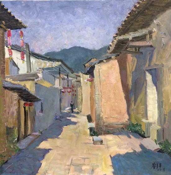 刘丰《古镇一》60x60cm2017年布面油画。webp
