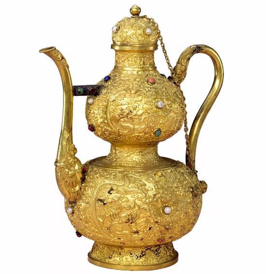 金錾云龙纹嵌珠宝葫芦式执壶
