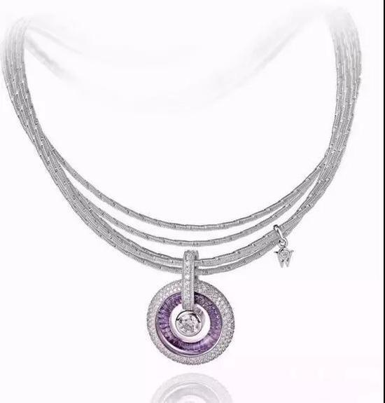 华洛芙120周年系列珠宝,紫水晶与钻石护身符吊坠