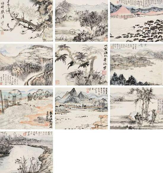 陆俨少(1909-1993) 山水合册册页(十开)