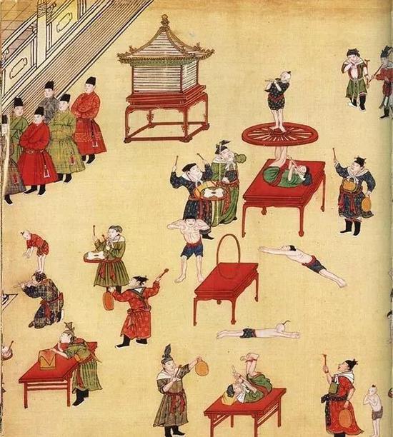 明《宪宗元宵行乐图》(局部),画面展现了众人进行杂耍表演的场景,精彩至极