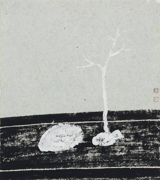 钟小明 枯山水No.36 52.5x46.5cm 纸本设色 2017