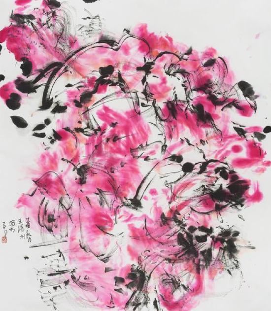 王清州 纸本水墨作品 2017《梦影》70x70cm