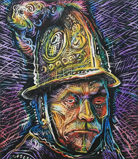 5 50x130cm 重读美术史,伦勃朗带金盔的男子-布面油画