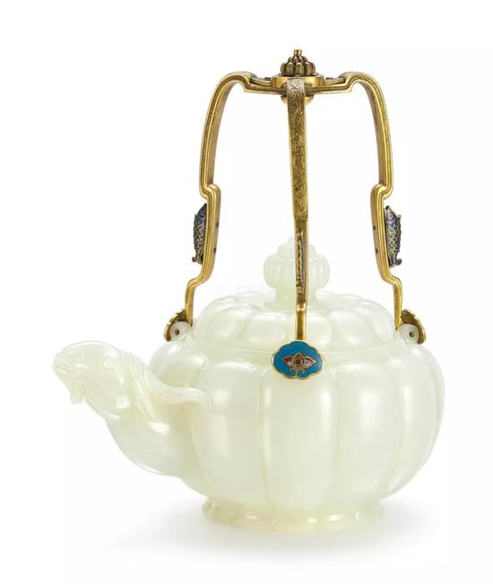 图2、清乾隆御制白玉瓜棱式羊首掐丝珐琅提梁茶壶