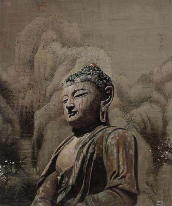米巧铭佛像系列 佛性禅心 50X60cm 布面油画 2017