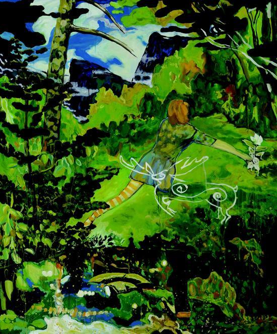 孟小为 一朵关联寺庙的白花(布面油画)(2017)180x150cm