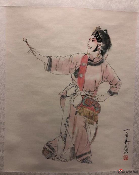 展出的戏曲人物画(朱刚)