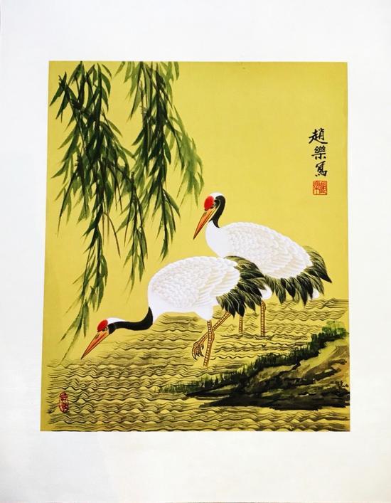 八零后的她画出美丽的丹顶鹤