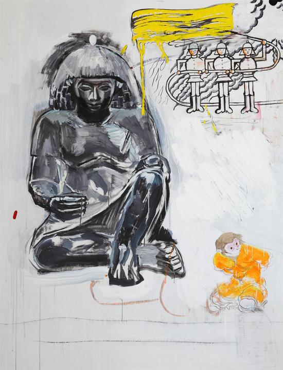 盛天泓,《埃及》,183.5x141cm,布面混合材料,2016
