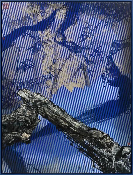 那危 《竹石江山图No.2》布面油画、绢本中国水墨200x150cm 2015