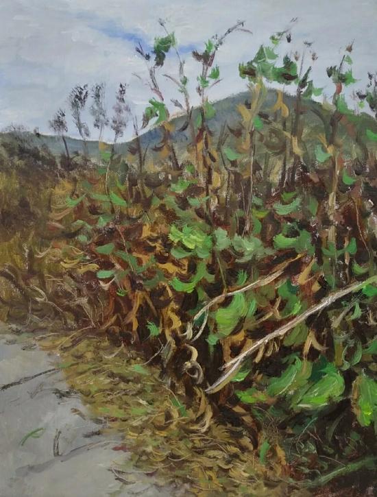 方伯林《秋》30x40cm2017年布面油画。webp