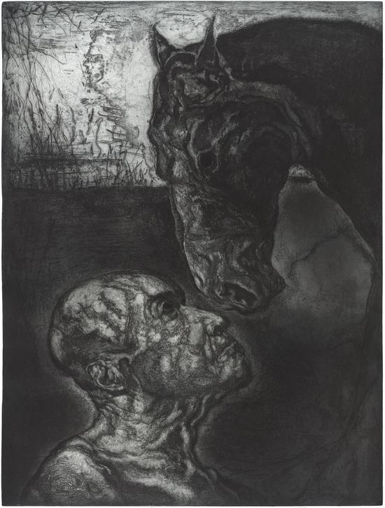 侯炜国《我们在一起时是动物分开成了诗人》80x100cm。意大利玛格奈尼铜版纸,油墨,共24版2016。
