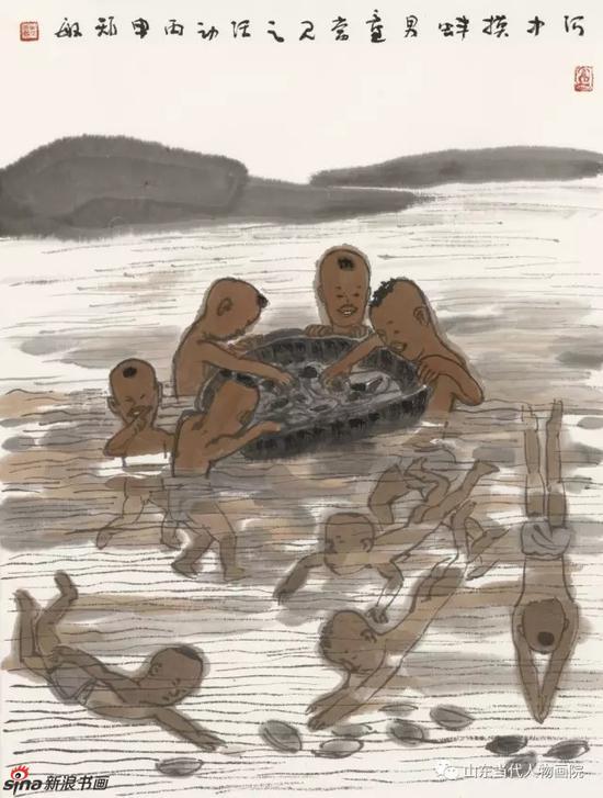 《河中摸蚌》 46X35cm 2016