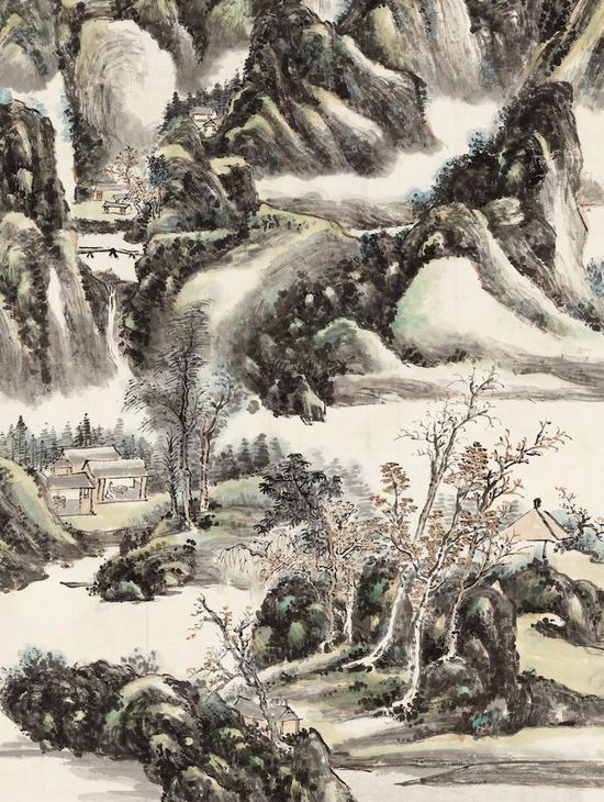 在这一时期,黄宾虹强调线条,强调用笔,更注意用笔的自如灵动,以追求画面中灵动高洁、简淡天真的意趣,笔笔分明。在《云山高隐图》中,笔意轻灵,远、中、近景段段分明,空白比较多,透出简意明快的风格。近景描绘坡石杂木,丛林杂树蓊郁丰茂,生机勃勃,一处茅屋掩映其中,一位高士独坐室内,面对山水,幽思冥想,意境幽雅静谧;中景山峦层层叠叠,幽谷雾霭浮动;远景山峰高耸,云气环绕,浩渺清旷。