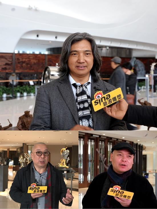 总策展人吴为山、分策展人罗小平、获奖雕塑家代表李烜峰