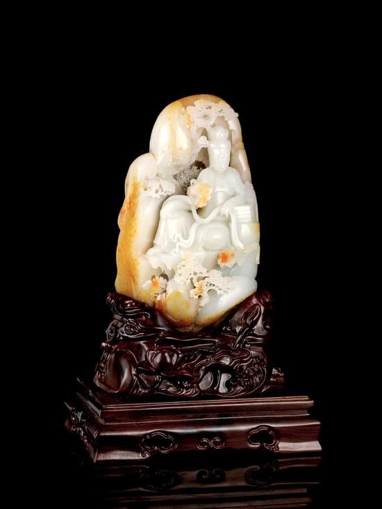 02442 王广安 新疆和田玉籽料观音山子摆件  规格:18.5×9.6×6.1cm  重量:1690g