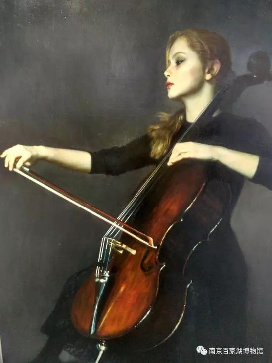 陈逸飞(1946~2005)拉大提琴者 布面油画(百家湖博物馆馆藏)